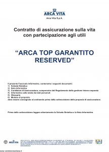 Arca Vita - Arca Top Garantito Reserved - Modello nd Edizione 01-12-2010 [38P]