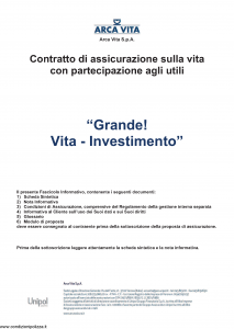 Arca Vita - Grande Vita Investimento - Modello nd Edizione 01-01-2016 [42P]