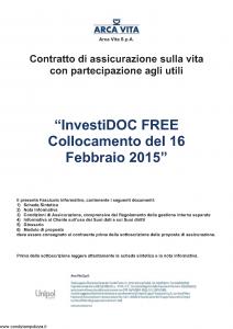 Arca Vita - Investidoc Free Collocamento 16-02-2015 - Modello nd Edizione 31-05-2015 [40P]