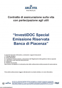 Arca Vita - Investidoc Special Emissione Riservata Banca Di Piacenza - Modello nd Edizione 31-12-2011 [40P]