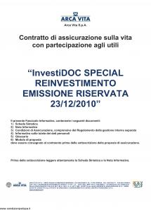 Arca Vita - Investidoc Special Reinvestimento - Modello nd Edizione 23-12-2010 [39P]