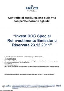 Arca Vita - Investidoc Special Reinvestimento - Modello nd Edizione 23-12-2011 [39P]