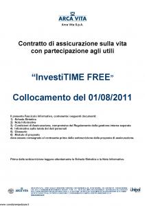 Arca Vita - Investitime Free - Modello nd Edizione 01-08-2011 [36P]