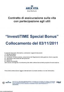 Arca Vita - Investitime Special Bonus - Modello nd Edizione 03-11-2011 [38P]