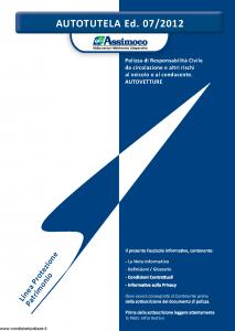 Assimoco - Autotutela - Modello a001-b-rca Edizione 07-2012 [54P]