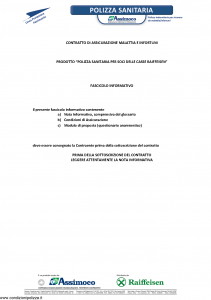 Assimoco - Polizza Sanitaria Per Soci Delle Casse Raiffesen - Modello mal-007-cg-bz Edizione 05-2014 [16P]