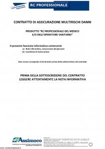 Assimoco - Rc Professionale Del Medico E Dell'Operatore Sanitario - Modello d-363-cg-01 Edizione 05-2016 [18P]