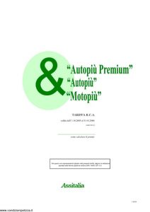 Assitalia - Autopiu' Premium Autopiu' Motopiu' Tariffa Rca - Modello Narc 057-01 Edizione 10-2005 [54P]