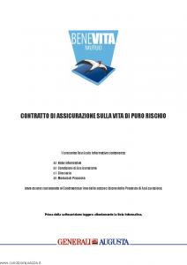 Augusta - Benevita Mutuo Contratto Di Assicurazione Sulla Vita Di Puro Rischio - Modello av1125e.114 Edizione 01-01-2014 [32P]