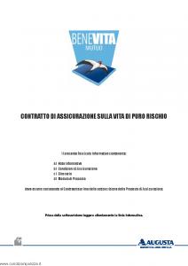 Augusta - Benevita Mutuo Contratto Di Assicurazione Sulla Vita Di Puro Rischio - Modello av1125e.513 Edizione 30-04-2013 [32P]