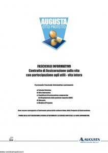 Augusta - Otto Protetto Contratto Di Assicurazione Sulla Vita - Modello av1294e.011 Edizione 09-2011 [46P]