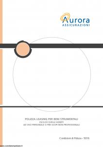 Aurora - Polizza Leasing Per Beni Strumentali - Modello u5016a Edizione 01-12-2005 [20P]