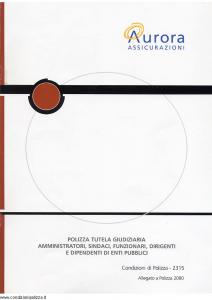 Aurora - Polizza Tutela Giudiziaria Amministratori Sindaci Funzionari Dirigenti E Dipendenti Di Enti Pubblici - Modello u2315c Edizione 01-04-2004 [6P]