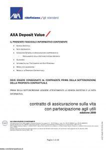 Axa - Axa Deposit Value - Modello 4743 Edizione 03-2009 [40P]