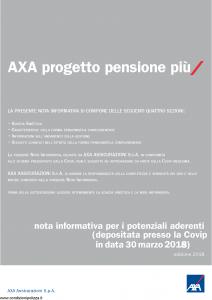 Axa - Axa Progetto Pensioni Piu' - Modello 4791 Edizione 2018 [33P]