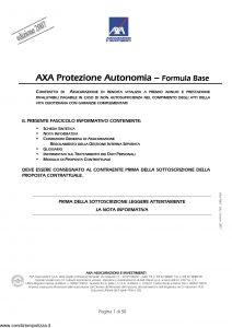 Axa - Axa Protezione Autonomia Formula Base - Modello 9062 Edizione 10-10-2007 [50P]