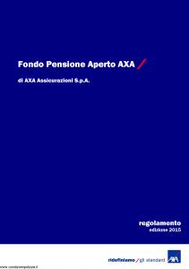 Axa - Fondo Pensione Aperto Axa - Modello 4710 Edizione 2015 [90P]