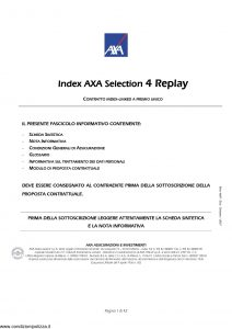 Axa - Index Axa Selection 4 Replay - Modello 4697 Edizione 01-2007 [42P]