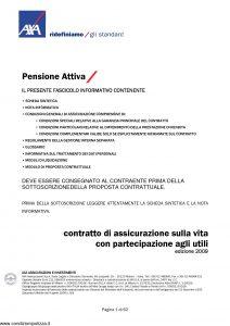 Axa - Pensione Attiva - Modello 4001 Edizione 2009 [63P]