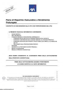 Axa - Piano Di Risparmio Assicurativo A Rendimento Prolungato - Modello 4523 Edizione 31-03-2007 [62P]