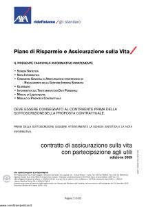 Axa - Piano Di Risparmio E Assicurazione Sulla Vita - Modello 4528 Edizione 31-03-2009 [62P]