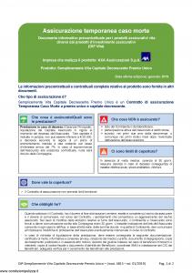 Axa - Semplicemente Vita Capitale Decrescente Premio Unico - Modello 4815 Edizione 01-2019 [32P]