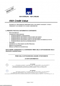 Axa Interlife - Axa Credit Value - Modello axa int 123 Edizione 30-06-2007 [63P]