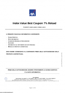Axa Interlife - Index Value Best Coupon 7 Reload - Modello axa int 130 Edizione 06-2007 [46P]