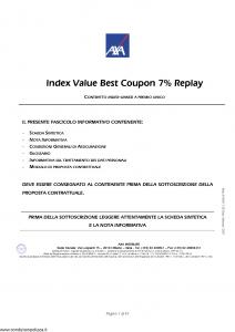 Axa Interlife - Index Value Best Coupon 7 Replay - Modello axa int 129 Edizione 05-2007 [42P]
