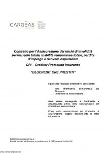 Cargeas - Blucredit One Prestiti - Modello 1467 Edizione 15-06-2015 [32P]
