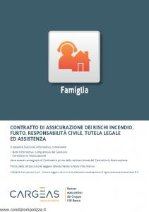 Cargeas - Famiglia Assicurazione Rischi Incendio, Furto, Responsabilita' Civile, Tutela Legale - Modello 1124 Edizione 01-09-2015 [64P]