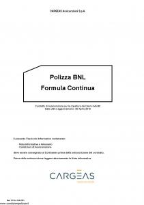 Cargeas - Polizza Bnl Formula Continua - Modello 1515 Edizione 20-04-2015 [22P]