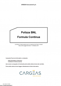 Cargeas - Polizza Bnl Formula Continua - Modello 1518 Edizione 13-10-2017 [23P]