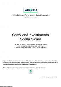Cattolica - Cattolica & Investimento Scelta Sicura - Modello 1931 28 Edizione 31-05-2013 [32P]