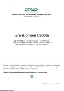 Cattolica - Grandomani Cedola - Modello 1910 28 Edizione 01-12-2010 [27P]