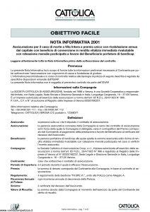 Cattolica - Obiettivo Facile Nota Informativa 2001 - Modello 191-ni Edizione 11-2001 [8P]