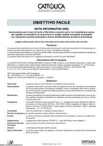Cattolica - Obiettivo Facile Nota Informativa 2003 - Modello 191-ni Edizione 07-2003 [8P]