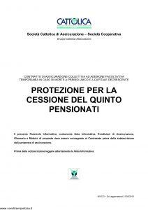 Cattolica - Protezione Per La Cessione Del Quinto Pensionati - Modello 401033 Edizione 31-05-2016 [18P]