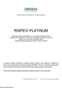 Cattolica - Rispevi Platinum Assicurazione Caso Morte - Modello rsvg-28 Edizione 27-05-2009 [37P]
