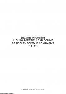 Fata - Globale Agricoltura Sezione Infortuni Guidatore Macchine Agricole 918-919 - Modello 14533 Edizione 06-2007 [11P]