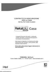 Fondiaria Sai - Retail Piu' Classic Casa Assicurazione Per La Casa - Modello 11538 Edizione 03-2013 [66P]