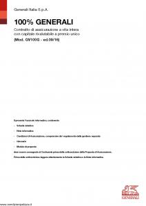Generali - 100% Generali - Modello gv100g Edizione 09-2016 [46P]