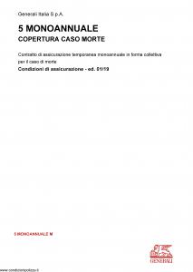 Generali - 5 Monoannuale Copertura Caso Morte - Modello 5-monoannuale-m Edizione 01-2019 [14P]
