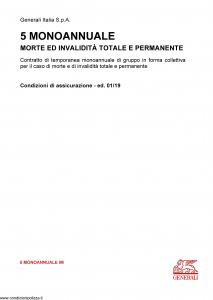 Generali - 5 Monoannuale Morte Ed Invalidita' - Modello 5-monoannuale-im Edizione 01-2019 [16P]