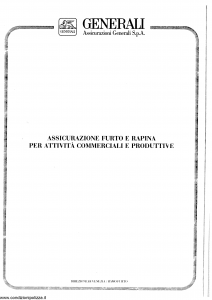 Generali - Assicurazione Furto E Rapina Per Attivita' Commerciali E Produttive - Modello nd Edizione 12-1987 [SCAN] [16P]