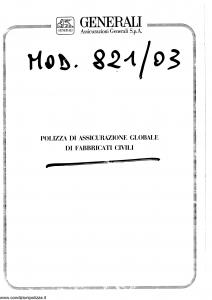 Generali - Assicurazione Globale Fabbricati Civili - Modello 821-03 Edizione 07-1991 [SCAN] [6P]