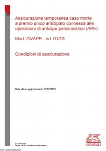 Generali - Assicurazione Tempoaranea Caso Morte - Modello gvape Edizione 01-01-2019 [20P]