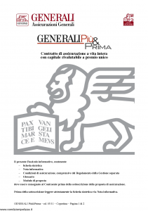 Generali - Generali Piu' & Prima - Modello gvgpp Edizione 01-03-2011 [28P]