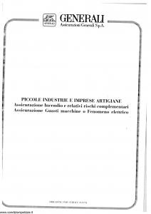Generali - Piccole Industrie E Imprese Artigiane Incendio E Rischi Complementari - Modello eare08-15 Edizione 09-1996 [SCAN] [24P]