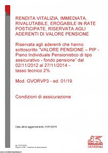 Generali - Rendita Vitalizia Immediata Rivalutabile Erogabile In Rate - Modello gvorvp3 Edizione 01-01-2019 [8P]